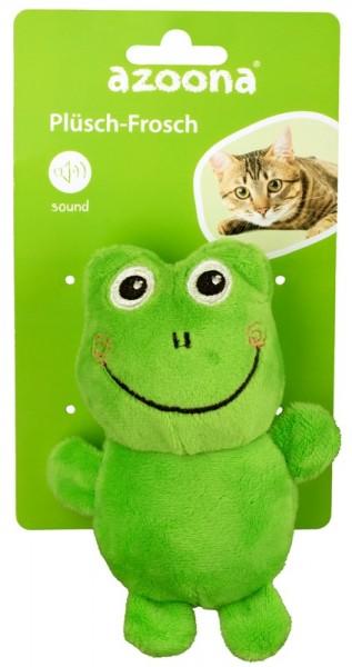 Azoona Katzenspielzeug Frosch Plüsch mit Sound