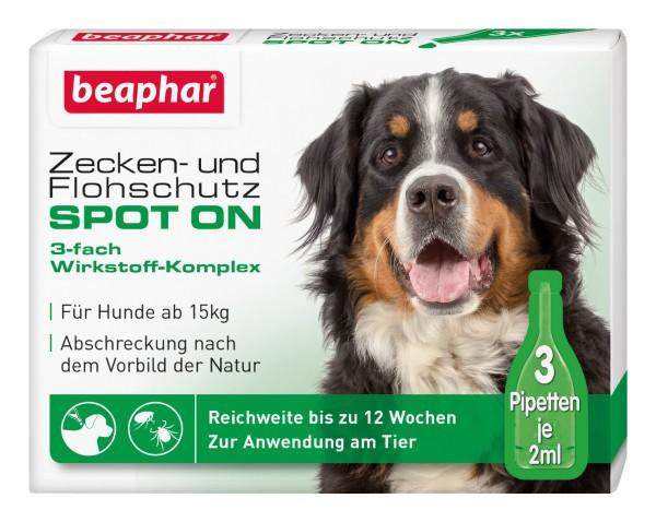 Beaphar Zecken Flohschutz SPOT-ON 3x2ml, für große Hunde (ab 15 kg)
