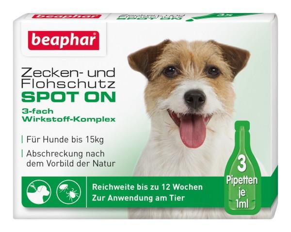 Beaphar Zecken Flohschutz SPOT-ON 3x1ml, für kleine Hunde (bis 15kg)