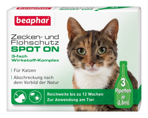 Beaphar Zecken Flohschutz SPOT-ON 3x0,8ml, für Katzen