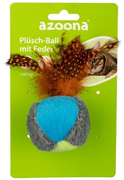 Azoona Katzenspielzeug Plüsch-Ball mit Feder