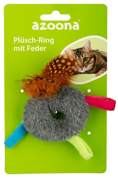 Azoona Katzenspielzeug Plüsch-Ring mit Feder